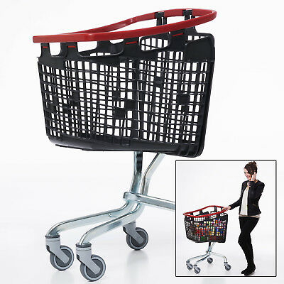 Red Shopping Trolley Small Supermarket Cart Araven Loop Trolley 100L