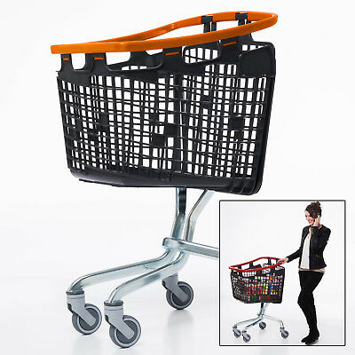 Orange Shopping Trolley Small Supermarket Cart Araven Loop Trolley 100L