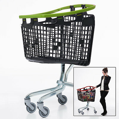 Green Shopping Trolley Small Supermarket Cart Araven Loop Trolley 100L