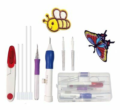 Magic Embroidery Pen,Kit Stitching Punch Pen Tool Set with Scissors for DIY by