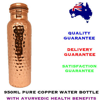 950ml Craft Hammered Pure Copper Water Bottle with Ayurvedic Health Benefits