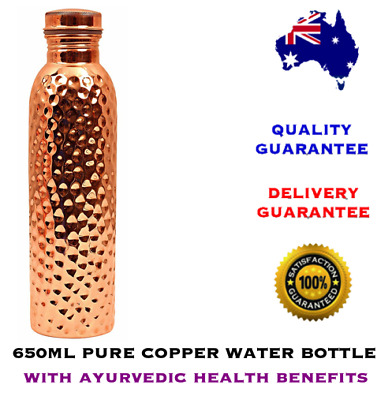 650ml Pure Copper Craft Hammered Water Bottle with Ayurvedic Health Benefits
