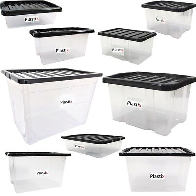 Quality Plastic Storage Boxes Clear Box With Black Lids Home Office Stackable UK