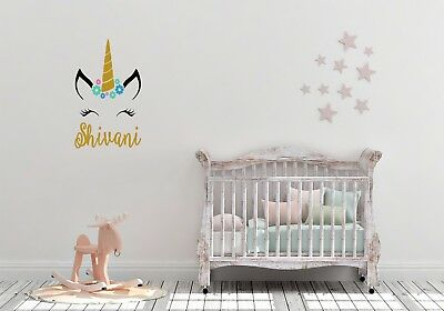 Unicorn Eyelashes Personalised Wall Art Flowers Decal Vinyl Wall Sticker & UNICORN EYELASHES PERSONALISED Wall Art Flowers Decal Vinyl ...