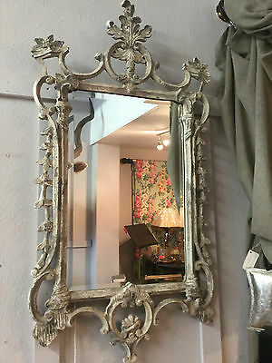 Superb Aged Ornate Stone Taupe French Chateau Style Large Bevelled Wall Mirror