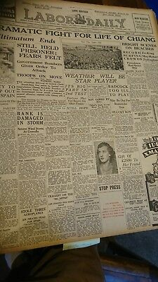 Original  old oz Newspaper 1936 China History Chiang Kai-shek