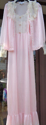 MARY JANE SHEPLER's PINK & LACE w ROSETTE's NIGHTGOWN & PEIGNOIR JACKET - L