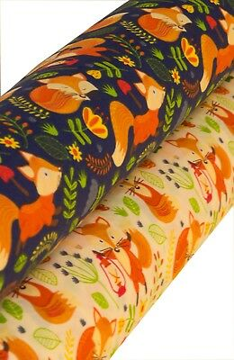 Fox In The Garden Printed Poly Cotton Fabric  - Width 112 Cm