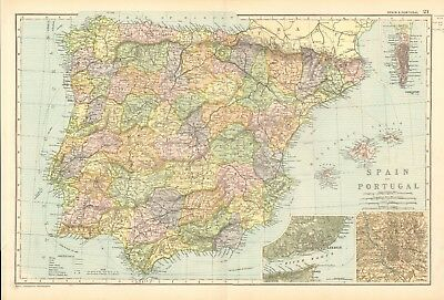 1907 Antique Map- Bacon - Spain and Portugal, Gibraltar,Madrid,Lisbon, Balearics
