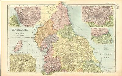1907 Antique Map- Bacon - England North, Leeds, Isle of Man, Liverpool, Manchest