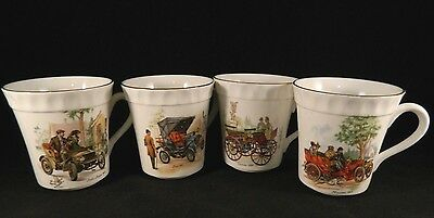 4 Vintage Crown Staffordshire Bone China EARLY AUTOMOBILES Snack Cup Cars Gold
