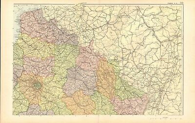 1907 Antique Map- Bacon - France, North East, Amiens, Chalons, Epinau