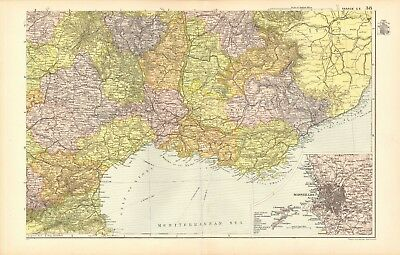 1907 Antique Map- Bacon - France South East,Perpignan, Nice. Marseilles, Valence