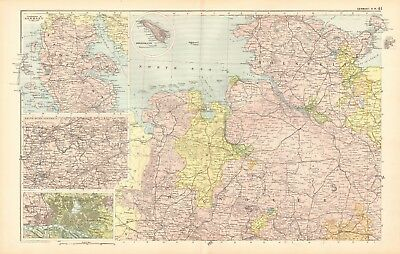 1907 Antique Map- Bacon - Germany North West, Schleswig, Ruhr, Hamburg, Hanover
