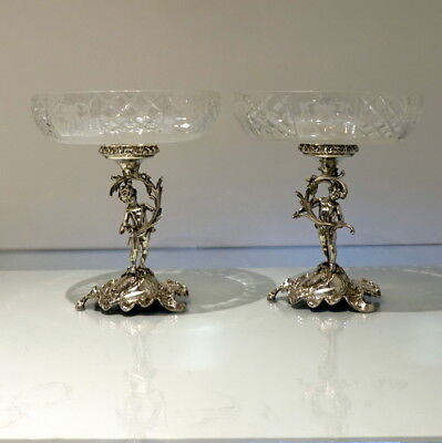 19th Century Antique 800 Standard Silver Pair Comports Germany Circa 1880