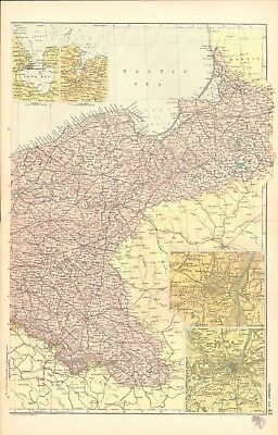 1907 Antique Map- Bacon - Germany North East, Metz,Strasburg,Kiel,Wilmhelmshaven