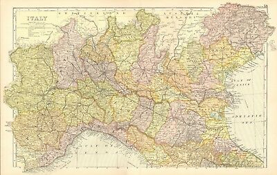 1907 Antique Map- Bacon - Italy, North, Milan, Rimini, Florence, Turin