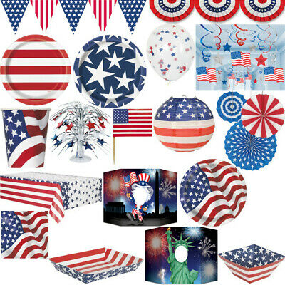 USA Deko Partyartikel Amerika Party Feier 4. Juli New York blau weiss rot Set