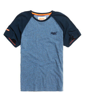 Superdry M10001TQ QC9 Orange Label Baseball Tee T Shirt Midnight Grit/Pitch Navy