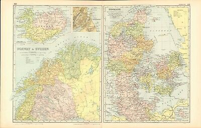 1907 Antique Map- Bacon - Norway and Sweden North, Denmark, 2 maps