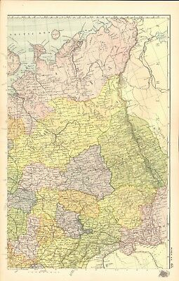 1907 Antique Map- Bacon - Russia in Europe North East, Archangel, Jaroslav,