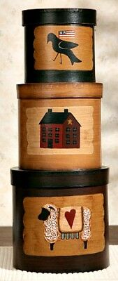 New Primitive Country Folk Art HOUSE CROW SHEEP Storage Nesting Stacking Boxes
