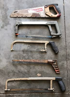 Lot Of 5 Handsaws And Hacksaws Craftsman Stanley Miller