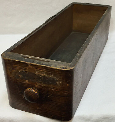 Wood Sewing Drawer Vintage Antique Primitive Trinket Tool Box File Dark Stained