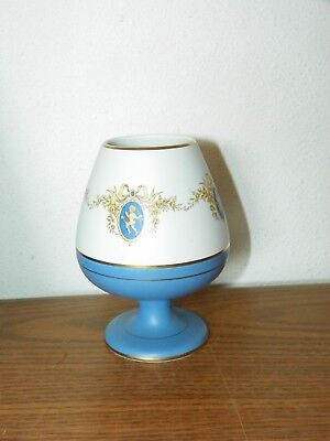 Flora Keramiek Gouda Holland Lydia #1845 Vase Blues w/ Gold Cameo Cupids Wreath