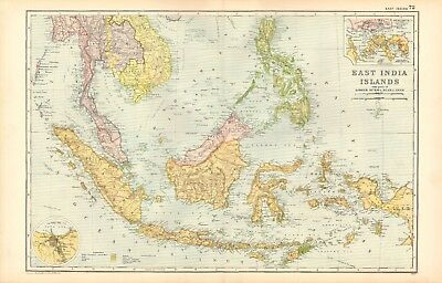 1907 Antique Map- Bacon - East Indies, Lower Burma, Siam, Anam, Sumatra,Borneo