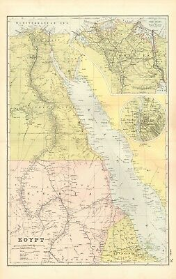 1907 Antique Map- Bacon - Africa North, Egypt, Cairo, Nile Delta