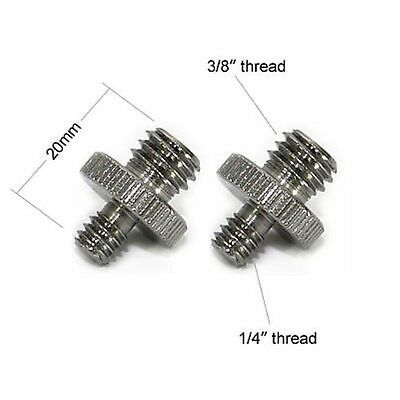 """2x 1/4"""" to 3/8"""" Male Screw Adapter For Camera Monopod Tripod Converter Connector"""