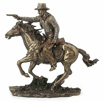 Fighting Cowboy On Horseback With Pistol And Rifle Statue Sculpture Figurine