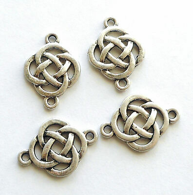 6pcs-2 loop silver tone Celtic Knot connector,bohemian earring connector