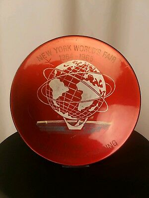 New York Worlds Fair 1964 - 1965 Red Plate Bowl Red Antique Vintage Unisphere