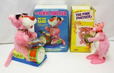 Two Vintage 1970s illco Pink Panther Toys in Box - One Man Band & Wind Up Toy