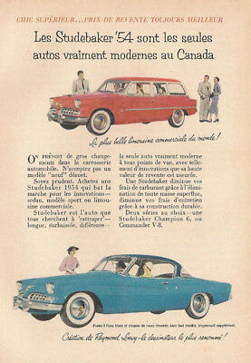1954 Studebaker Champion & Commander Automobile Original Ad In French