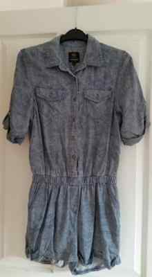 river island acid wash denim playsuit size 8