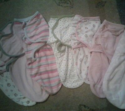 LOT of 7 BABY GIRL SLEEPSACKS Small Sleeping Bags Swaddlers Swaddle Me Blankets