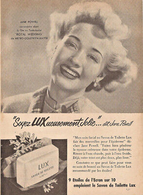 1951 JANE POWELL for LUX SOAP ORIGINAL AD IN FRENCH