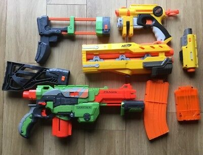 NERF GUN BUNDLE - Vortex Praxis Nerf Exstention Two Stocks 2x Ammo CartsPISTOLS