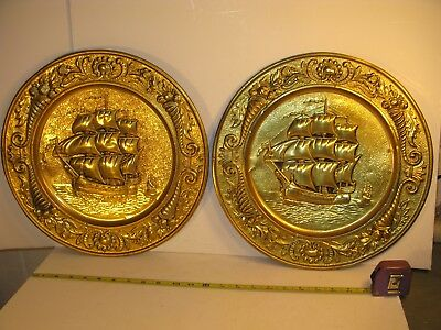"""lot (2) Vintage 14"""" BRASS WALL HANGING Plate Plaque Ship Nautical Maritime =="""
