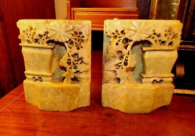 Vintage PAIR of Light Green Soapstone Bookends ASIAN CARVED FLORAL URN