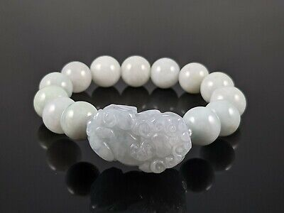 Natural Burmese A Grade Jadeite Jade 13mm Beads with Pixiu and Stretchy Bracelet