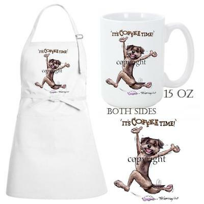 Border Terrier Dog Breed Coffee Time Kitchen Chef Apron & Ceramic Mug Gift Set
