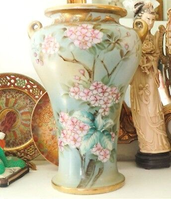 Antique Japanese Nippon Hand Painted Vase Gold Beading Florals