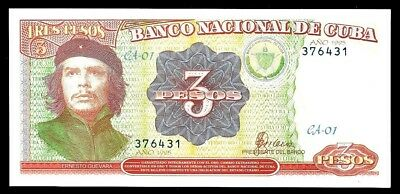 BANKNOTE $3 PESOS with Che Guevara image. UNC -PAPER MONEY CARIBBEAN ISLAND-