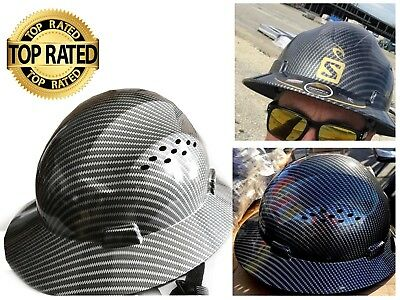 HDPE Hydro Dipped Black Full Brim Hard Hat with Fas-trac Suspension Construction