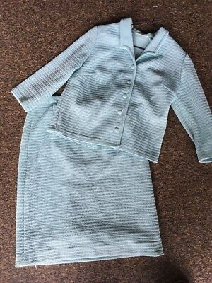 Vintage Baby Blue Suit Skirt Jacket Retro Crimpelene 50's Jackie O Rock N Roll