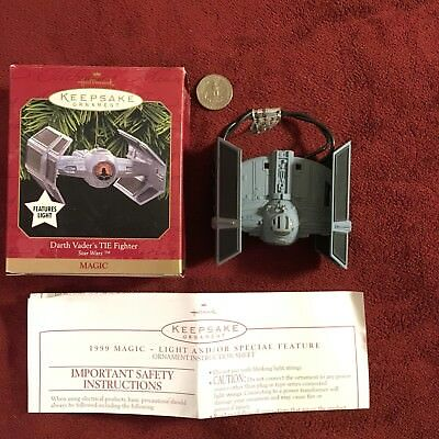 1999 Hallmark Keepsake Ornaments Star Wars Darth Vader's Tie Fighter Magic Light